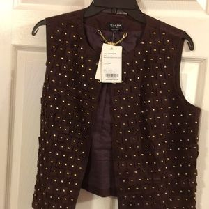 Burgundy suede vest with studs